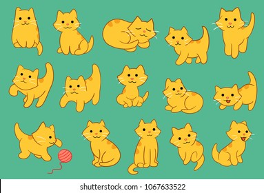 Kitten Pose Various Vector Illustration for many purpose such as print on canvas, note book, pillow case, laptop case, pencil case, purse, bag, clothes, social media sticker, etc.
