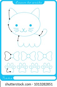 Kitten. Preschool worksheet for practicing fine motor skills - tracing dashed lines. Tracing Worksheet.  Illustration and vector outline - A4 paper ready to print.
