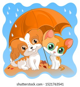 kitten and puppy in the autumn rain cute red dog and cat under an umbrella postcard fashion design children's illustration vector