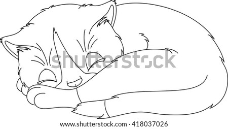 Kitten Sleep Coloring Page Stock Vector Royalty Free 418037026