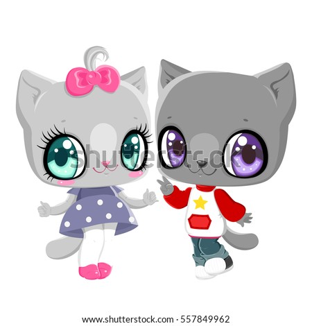 Kittens Boy Girl Card Valentines Day Stock Vector Royalty Free