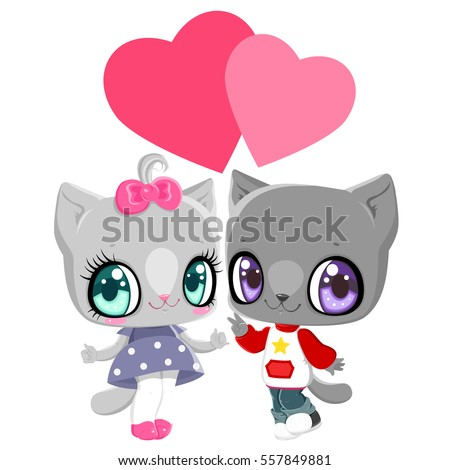 Kittens Boy Girl Hearts Card Valentines Stock Vector Royalty Free