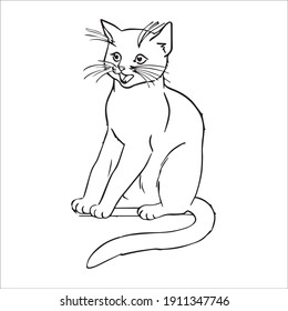 Kitty Cat coloring page Design for Kids Children stock vector style illustration Animal Coloring page