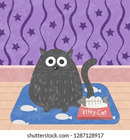 Kitty cat with fishbone in food bowl vector illustration. Cute kitty pastel cartoon. A cat sitting on carpet.