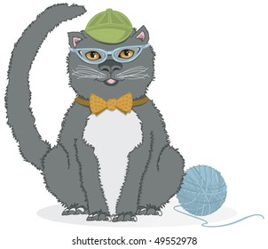 Kitty with CatEye Glasses