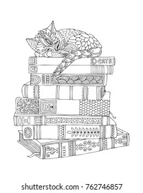 Kitty sleeps on a stack of books. Hand drawn picture. Sketch for anti-stress adult coloring book in zen-tangle style. Vector illustration for coloring page.