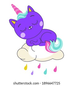 Kitty with unicorn horn and rainbow tail sleeping or taking nap on fluffy cloud with raindrops. Cloudscape and colorful rain, isolated cute mascot, character or sticker. Vector in flat style
