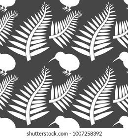 Kiwi bird and ferns seamless pattern. Vector illustration