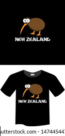 Kiwi Bird and grunge text New Zealand - T-shirt print, graphic for t-shirt. Slogan for t-shirt, Tee Design For Printing