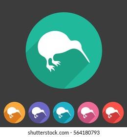 Kiwi bird icon flat web sign symbol logo label set