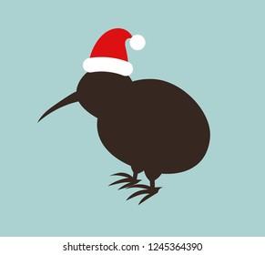 Kiwi bird in Santa hat. Christmas illustration.