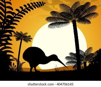 Kiwi bird at sunset. Kiwi bird on a background of tree ferns. Vector illustration.