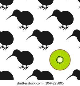 Kiwi birds and fruit seamless pattern. Vector illustration