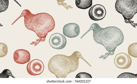 Kiwi birds and fruits. Seamless pattern with animals and food. Hand drawing of wildlife. Vector illustration art. Color picture. Old engraving. Vintage. Design for fabrics, paper, textiles, fashion.