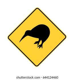 kiwi crossing. kiwi zone sign