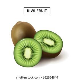 Kiwi fruit 3d illustration, close up fruit isolated on white background, sliced kiwi