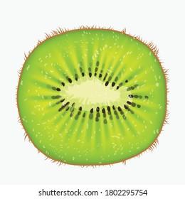 kiwi fruit front view on white back