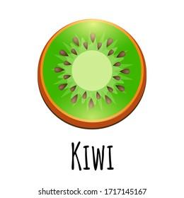 Kiwi fruit slice closeup icon isolated on white background, art logo graphic icon for web, logo and other designs.