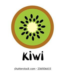 Kiwi fruit slice closeup icon isolated on white background, art logo design