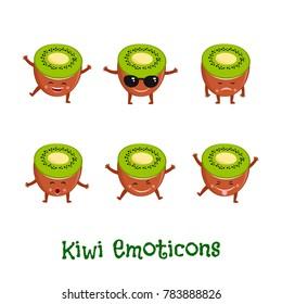 Kiwi  fruit smiles. Cute cartoon emoticons. Emoji icons