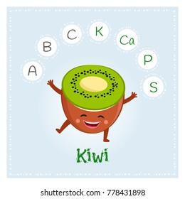 Kiwi fruit vitamins and minerals. Funny fruit character. Healthy food illustration