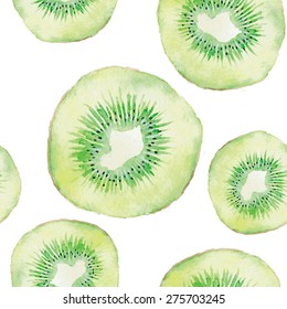 Kiwi fruit watercolor vector seamless pattern. Print for apparel, accessories, wrapping paper, wallpaper, banners for juice cafes, summer time posters, grocery bags.