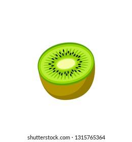 Kiwi, half fruit. Vector illustration cartoon flat icon isolated on white.