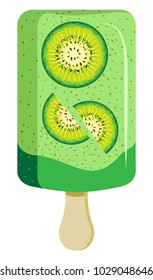 Kiwi ice cream popsicle on Wooden Stick. On a transparent background