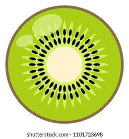 Kiwi Illustration - Kiwi half or cross section isolated on white background