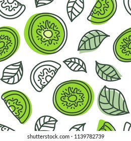 Kiwi seamless pattern. Hand drawn fresh tropical fruit. Vector sketch background. Doodle wallpaper. Green print