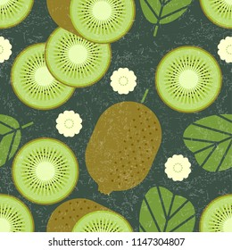 Kiwi seamless pattern. Whole and sliced kiwi fruits with leaves and flowers on shabby background. Original simple flat illustration. Shabby style.