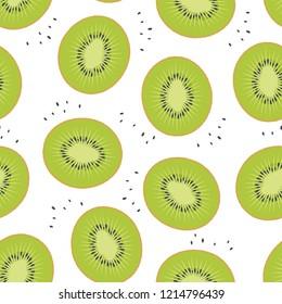 Kiwi sliced fruit seamless pattern. Vector illustration. Design for textile, poster, banner.