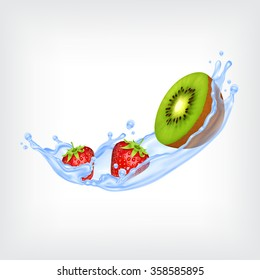 Kiwi and strawberry with blue splashing water. Vector icon. EPS10 vector