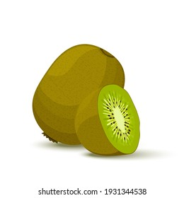 Kiwi, whole fruit and half. Vector illustration cartoon flat icon isolated on white.Summer fruits for healthy lifestyle.