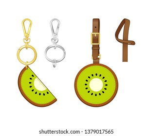 Kiwifruit Semicircular key chain/ bag charm, Kiwi printed tag with strap, vector illustration sketch template