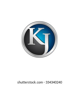 KJ initial circle logo blue
