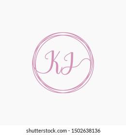 KJ Initial Handwriting logo template, Creative fashion logo design, couple concept -vector