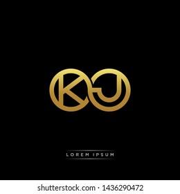 KJ initial letter linked circle capital monogram logo modern template