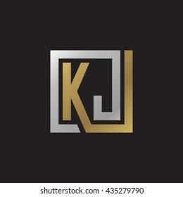 KJ initial letters looping linked square elegant logo golden silver black background