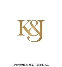 K&J Initial logo. Ampersand monogram golden logo