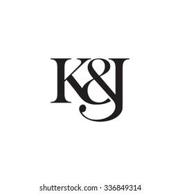 K&J Initial logo. Ampersand monogram logo