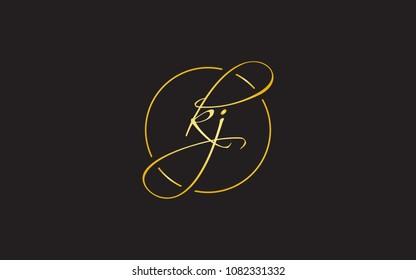 kj jk Circular Cursive Letter Initial Logo Design