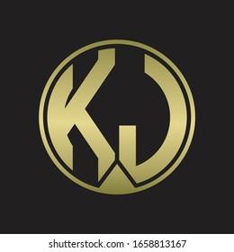 KJ Logo monogram circle with piece ribbon style on gold colors