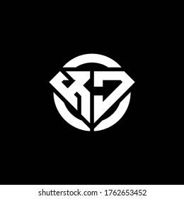 KJ monogram logo with diamond shape and ring circle rounded design template