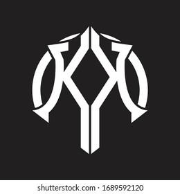 KK Logo monogram with emblem and circle rounded design template