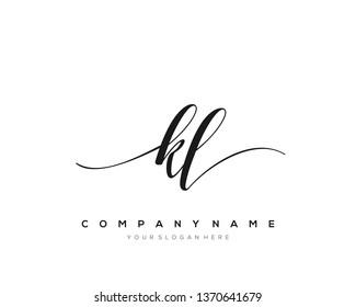 KL handwriting initial  logo vector