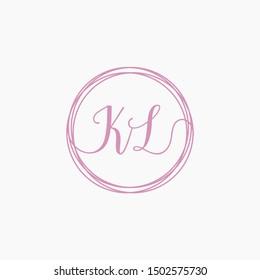 KL Initial Handwriting logo template, Creative fashion logo design, couple concept -vector
