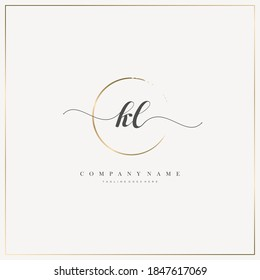 KL Initial Letter handwriting logo hand drawn template vector, logo for beauty, cosmetics, wedding, fashion and business