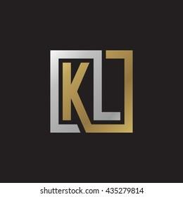 KL initial letters looping linked square elegant logo golden silver black background