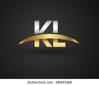 KL initial logo company name colored gold and silver swoosh design. vector logo for business and company identity.